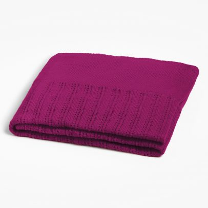 A folded triangular cashmere scarf with different patterns in the colour plum on a white background.